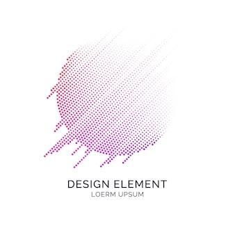 Abstrakte elemente mit dynamischen linien und partikeln. vektorillustration im flachen minimalistischen stil