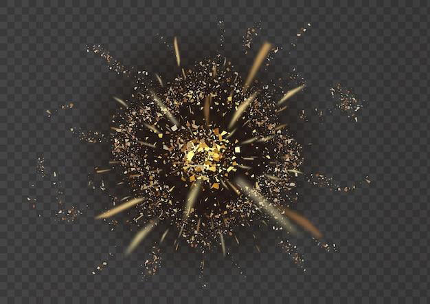 Abstrakte explosion. sternexplosion mit partikeln isoliert auf transparentem hintergrund.