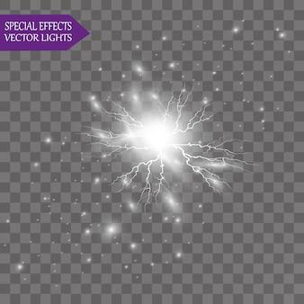 Abstrakte fackellichtstrahlen. eine reihe von sternen, licht und strahlung, strahlen und helligkeit. glühlichteffekt