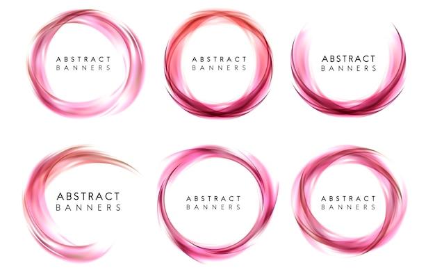 Abstrakte fahne eingestellt in rosa