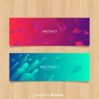 Abstrakte fahnen mit geometrischem design