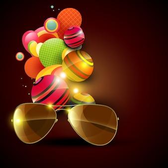 Abstrakte faishon sonnenbrille auf künstlerischen hintergrund