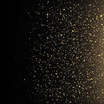 Abstrakte fallende goldene lichter magischer goldstaub und greller glitzerhintergrund