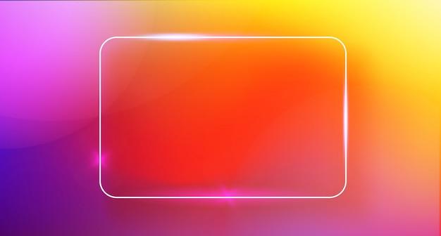 Abstrakte farbe modischer hintergrund mit neonrechteckrahmen
