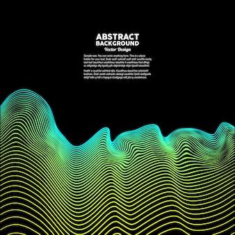 Abstrakte farbige dynamische wellen auf einem dunklen hintergrund vektorillustration