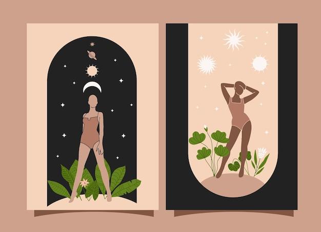 Abstrakte feminine poster boho zeitgenössische wandkunstbanner mit schönen frauenbogen und pflanzen