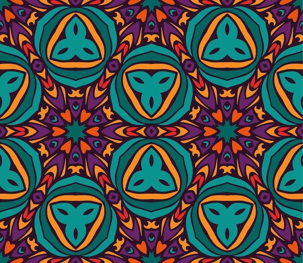 Abstrakte festliche bunte florale vektor ethnischen stammes-muster. geometrisches blumenmuster