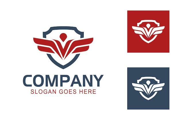 Abstrakte flache adler- oder phönixflügel mit schildsymbol zum schutz der sicherheitsarmee-logo-vorlage