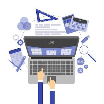 Abstrakte flache illustration des webdesigns und der entwicklung