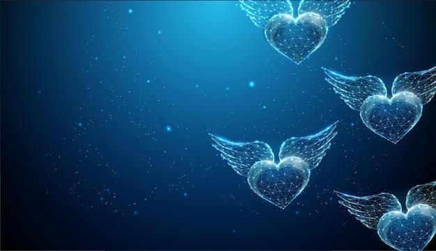 Abstrakte fliegende blaue herzen mit flügeln. alles gute zum valentinstag karte.