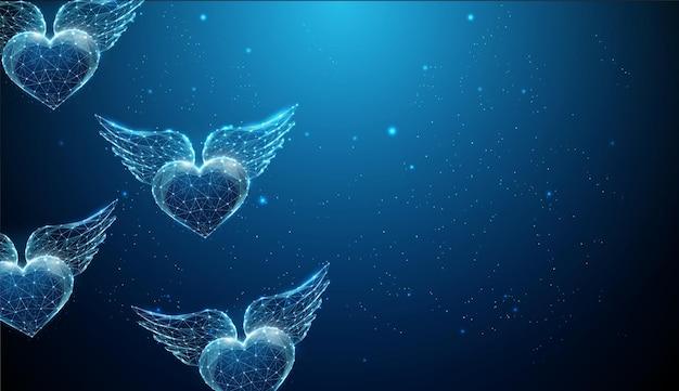 Abstrakte fliegende blaue herzen mit flügeln