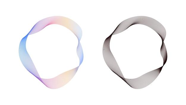 Abstrakte fließende wellenlinien kreisen ring mit regenbogensteigung und schwarzem farbvektor ein