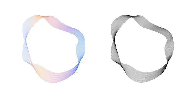 Abstrakte fließende wellenlinien kreisen ring mit regenbogenverlauf und schwarzem wiederholbarem vektor ein