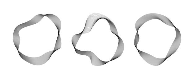 Abstrakte fließende wellenlinien kreisringe digitale runde frequenzspur und sprachentzerrer vector