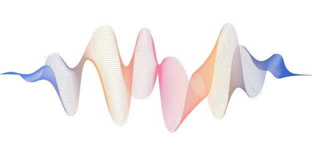 Abstrakte fließende wellenlinien mit roter und blauer farbverlaufsfarbe. digitale frequenzspur und sprach-equalizer. moderner vektorhintergrund