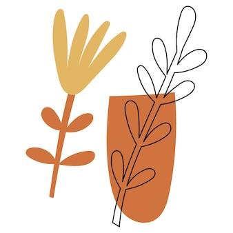 Abstrakte florale elemente in einer vase. vektor-illustration.