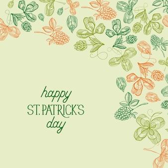 Abstrakte florale st. patricks day-grußkarte mit handgezeichnetem kleeblatt der grußinschrift und vierblättriges kleeblattvektorillustration
