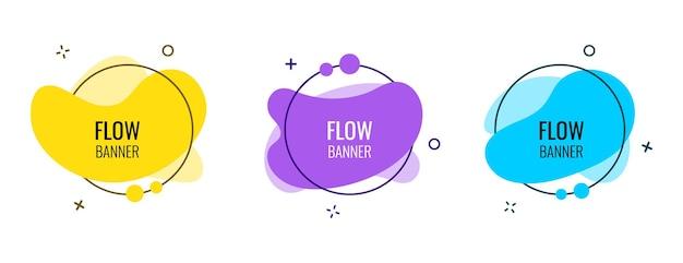 Abstrakte flow-banner-vorlage im memphis-stil. kreative futuristische bannerillustration des modernen designs eps 10
