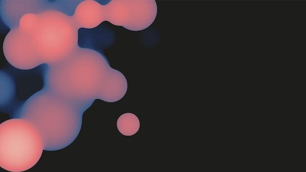 Abstrakte flüssige 3d-metaball-form mit violetten kugeln.