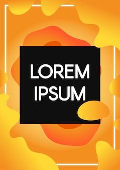 Abstrakte flüssige formen mit rahmen umrandet orangefarbenen hintergrund. vertikales banner mit schwarzem exemplar