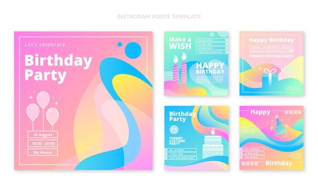 Abstrakte flüssige geburtstagsgeschichten mit farbverlauf