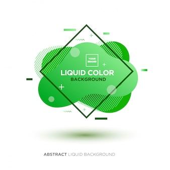 Abstrakte flüssige grüne farbfahne mit linie rahmen und marke, die logo platziert