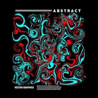 Abstrakte flüssige kunst mit einer mischung aus hellblauer und roter farbe