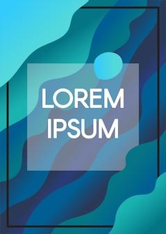 Abstrakte flüssigkeit bewegt blauen hintergrund mit textrahmengrenzen wellenartig. vertikales banner mit exemplar