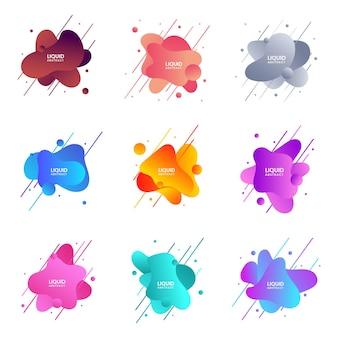 Abstrakte flüssigkeit formt moderne grafische elemente, flüssige designformen und linienverlaufsbündel