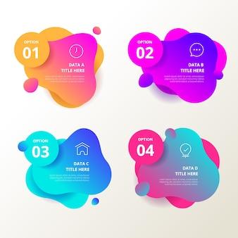 Abstrakte form infografiken mit farbverlauf