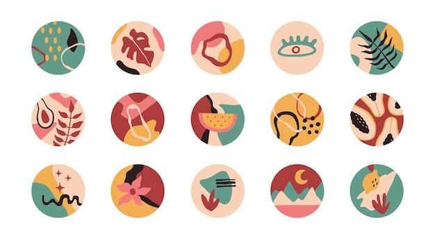 Abstrakte formen, blumen, pflanzen in runden ikonen.