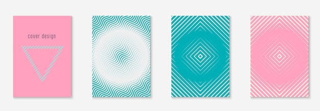Abstrakte formen decken und vorlage mit geometrischen linienelementen.