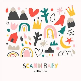Abstrakte formen des skandinavischen babystils, gekritzelillustrationen von regenbogen und bergen