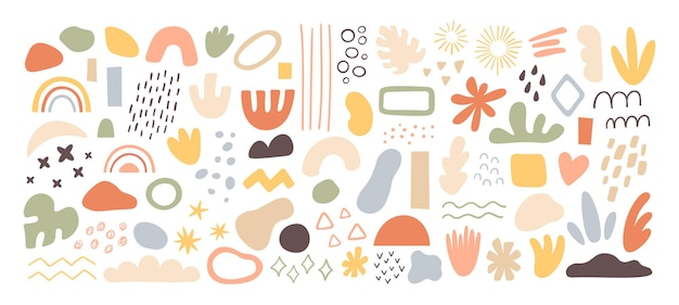Abstrakte formen und elemente. pinselstriche, tintenflecken und grunge-texturen