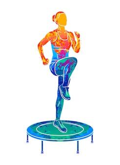 Abstrakte frau, die auf trampolin springt. junge fitness-mädchen trainiert auf einem mini-trampolin aus spritzer aquarelle. illustration von farben