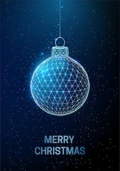 Abstrakte frohes neues jahr-grußkarte mit hängenden weihnachtsspielzeugen