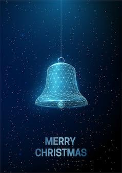 Abstrakte frohes neues jahr-grußkarte mit hängender weihnachtsglocke