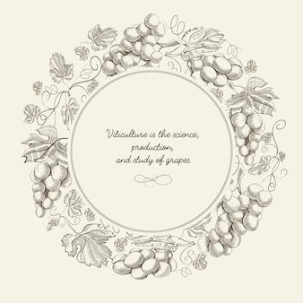 Abstrakte fruchtkranz-skizzenplakat mit weintraube und inschrift auf blauem hintergrundvektorillustration