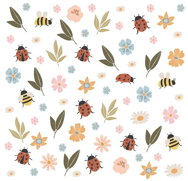 Abstrakte frühlingsblumenbienen und marienkäfer-boho-frühlingselemente