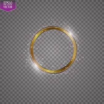 Abstrakte funkelnde goldene rahmen-lichteffektillustration