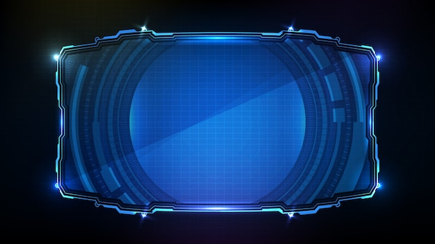 Abstrakte futuristik der blau leuchtenden technologie sci-fi-rahmen hud ui