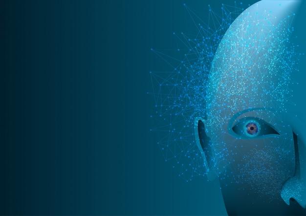 Abstrakte futuristische digitale kommunikation des neuronalen netzes und des ai-robotergesichtes.