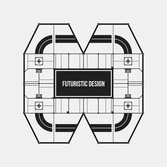 Abstrakte futuristische gestaltungselementschablone. nützlich für wissenschaftliche poster und high-tech-medien. getrennt auf weißem hintergrund.