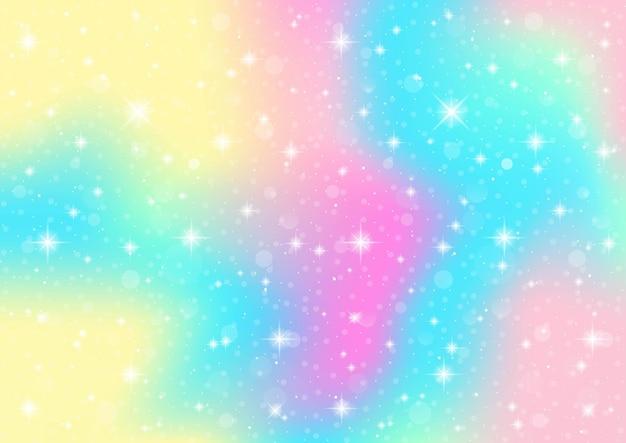 Abstrakte galaxie fantasie einhorn. pastellhimmel mit bokeh. regenbogenhintergrund.