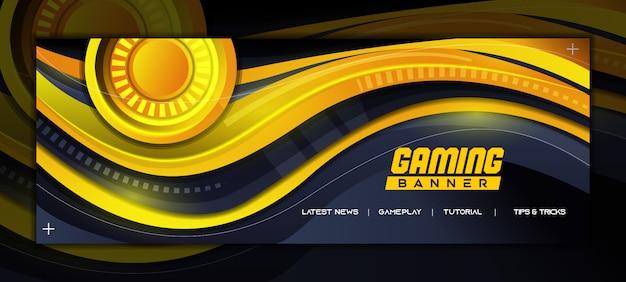 Abstrakte gaming-social-media-banner-vorlage mit gelbem wellenmuster