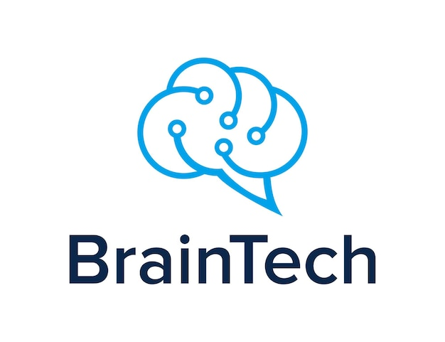 Abstrakte gehirnwolke für die technologieindustrie einfaches schlankes geometrisches modernes kreatives logo-design