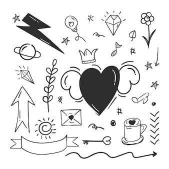 Abstrakte gekritzel-doodle-elemente mit liebeskonzept