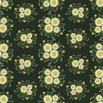 Abstrakte gelbe blumen winden efeuart mit niederlassung und blättern, nahtloses muster