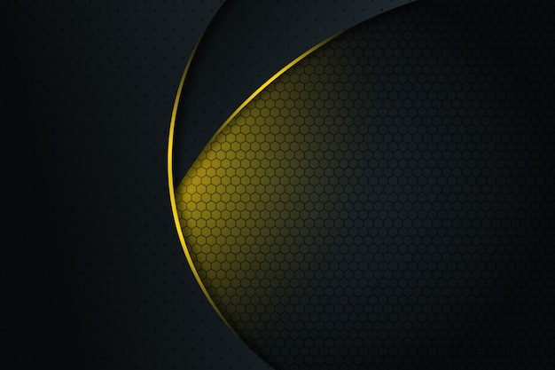 Abstrakte gelbe helle linie kurve auf modernem futuristischem hintergrund des dunkelgrauen leerzeichendesigns