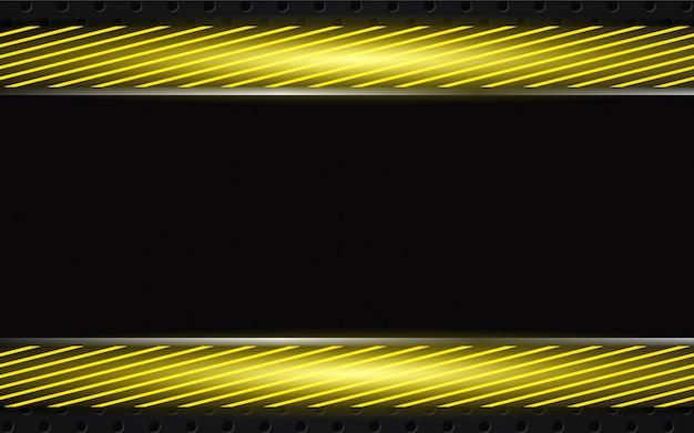 Abstrakte gelbe metallformen auf dunklem hintergrund